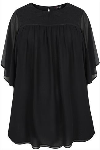 Black Angel Sleeve Embroidered Chiffon Blouse