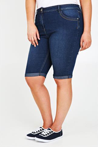 Mid Blue Denim Shorts With Stitch Detail