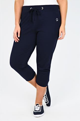 Navy Cropped Jogger With Cuffs And Silver Crown Embellishment