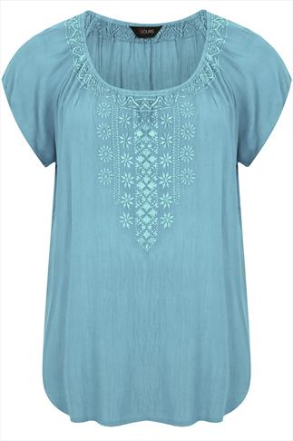 Duck Egg Short Sleeve Gypsy Blouse With Embroided Neckline