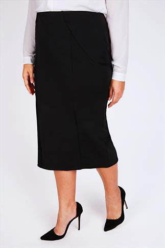 Black Textured Panel Pencil Midi Skirt With Elasticated Waist