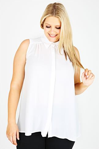 Ivory Sleeveless Crepe Button-Up Shirt With Pleating Detail