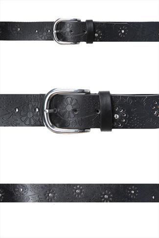 Black Floral Embossed Jean Belt