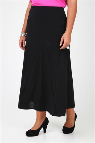 Black Jersey Maxi Skirt With Abstract Panel Detail - PETITE