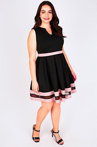 Black & Pastel Pink  Mesh Stripe Skater Dress
