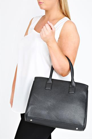 Black Tote Bag With Popper Fastening And Studded Feet