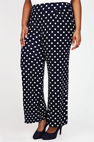 Navy & White Polka Dot Print Textured Wide Leg Trousers
