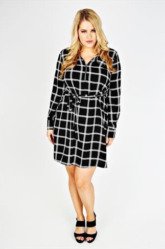 Black & White Check Print Sleeved Dress With Tie Waist