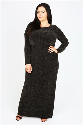 Black & Gold Metallic Thread Long Sleeve Maxi Dress