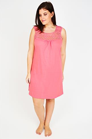 Coral Sleeveless Nightdress with Crochet Detail
