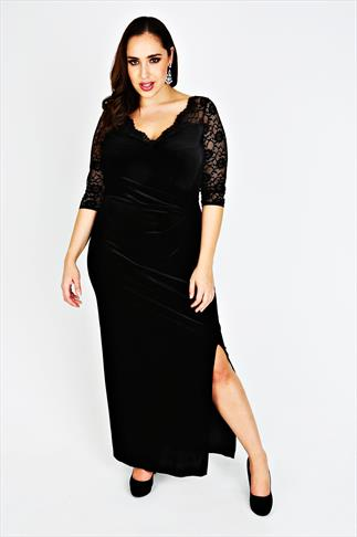 SCARLETT & JO Black Velvet Maxi Dress With Lace Sleeves