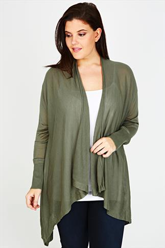 Khaki Fine Knit Waterfall Cardigan With V-Stitch Back Detail