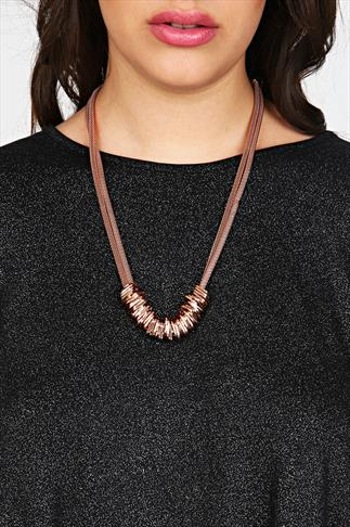 Rose Gold Chain Multi Hoop Statement Necklace