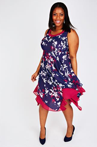 Navy, White & Pink Floral Print Hanky Hem Dress