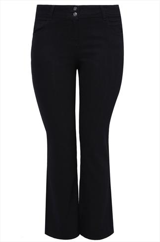 """30"""" Black Bootcut SHAPER Jeans With Two Button Fastening"""