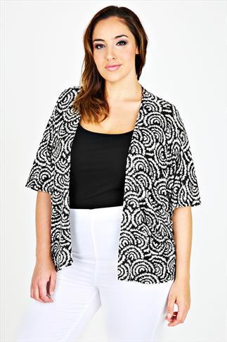 Black & White Swirl Print Jersey Kimono