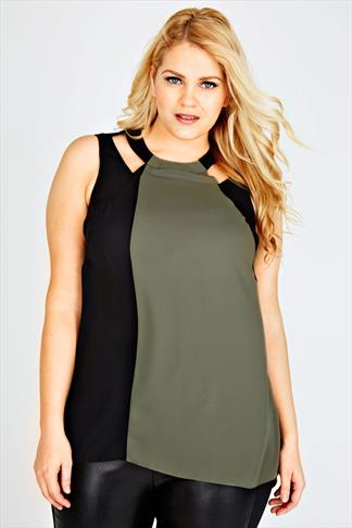 Khaki & Black Colour Block Sleeveless Top With Cut Out Details