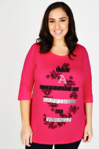 Pink 3/4 Sleeve Top Dipped Hem & Floral Slogan Print