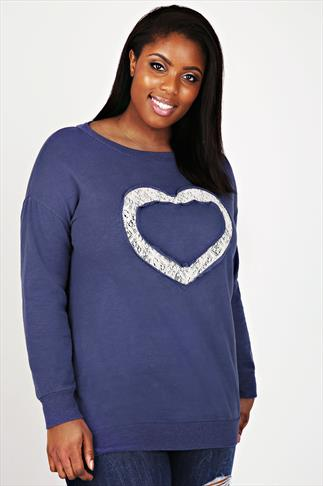 Denim Blue Longline Sweatshirt With Lace Heart Detail