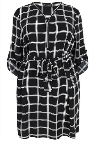Black & White Check Print Sleeved Dress With Tie Waist
