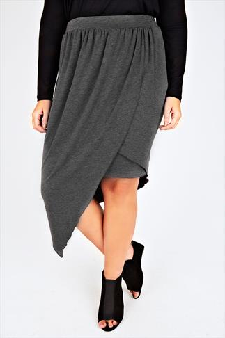 Dark Grey Marl Asymmetric Midi Wrap Skirt