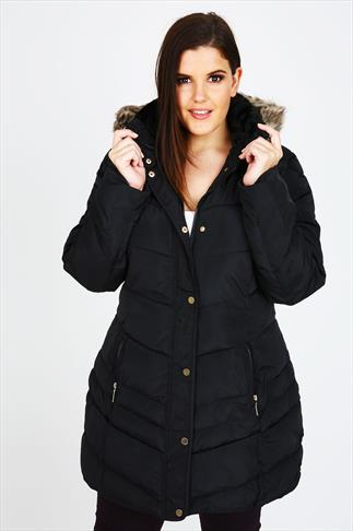 Black Quilted Puffa Coat With Brown Faux Fur Trim Hood
