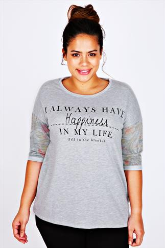 Grey Tropical Sleeve Sweat Top With Happiness Slogan