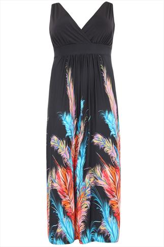 Orange And Blue Feather Print Maxi Dress