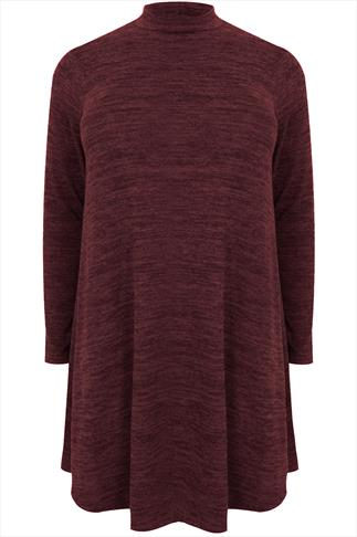 Wine Turtle Neck Long Sleeve Swing Dress