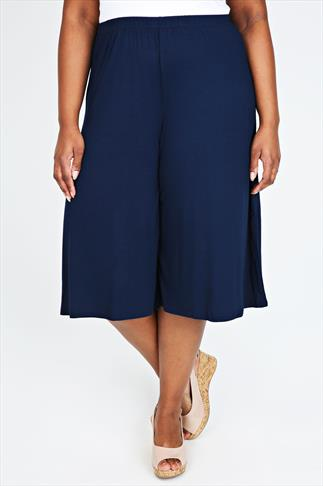 Navy Jersey Culottes