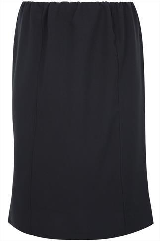 Black Pull On Bi-Stretch Panelled Midi Skirt