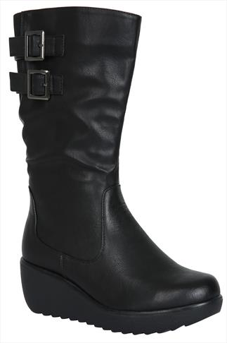 Black 3/4 length Boots With Double Buckle & Stretch Panel EEE Fit