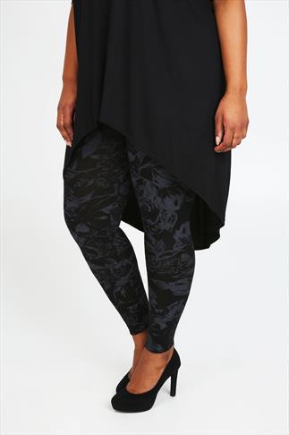 Black And Grey Floral Print Viscose Elastane Leggings