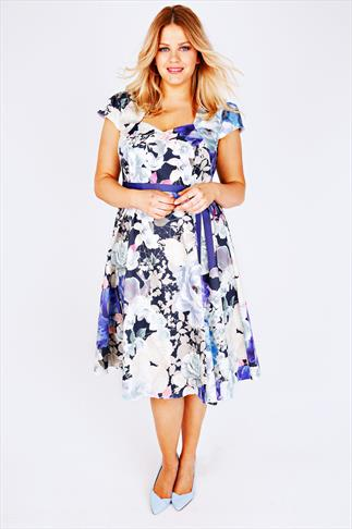 SCARLETT & JO Blue Mix Pastel Floral Sweetheart Midi Dress