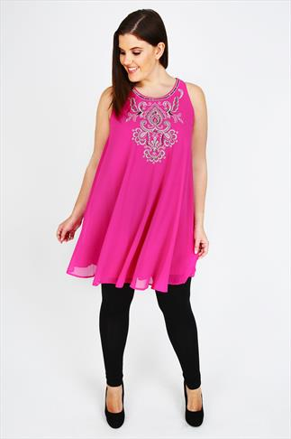 Hot Pink Sleeveless Swing Tunic Dress With Embellishment