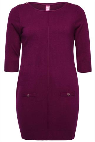 Purple Knitted Tunic Dress With Button Detail & Faux Pockets