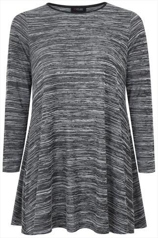 Grey Space Dye Swing Tunic With Contrasting PU Binding