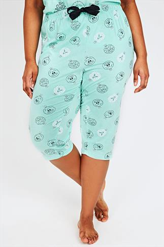 Mint Green Sheep Print Cropped Pyjama Bottoms