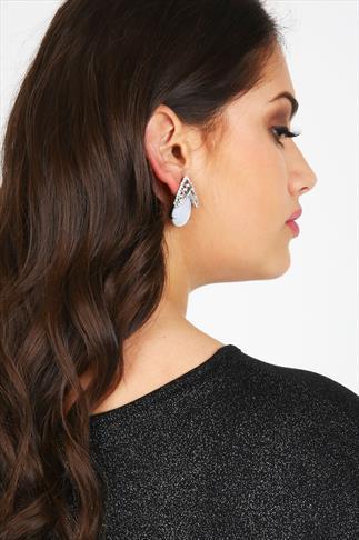 White Teardrop Stone Statement Stud Earrings