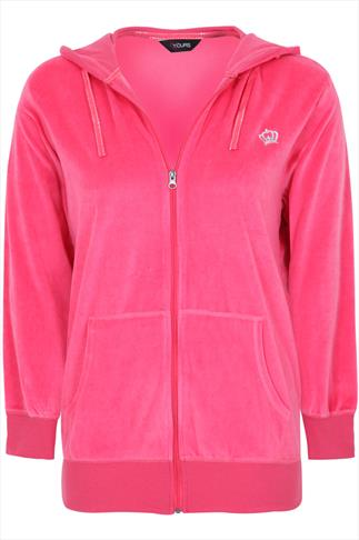 Bright Pink Zip Up Velour Hoody With Crown Detail