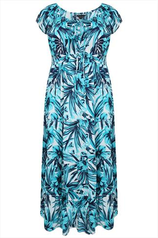 Turquoise & White Tropical Print Gypsy Maxi Dress