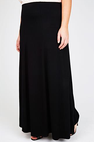 Black Panelled Jersey Maxi Skirt 40""