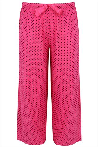 Pink & Black Polka Dot Print Full Length Pyjama Bottom