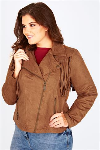 Tan Suedette Biker Jacket With Fringing Detail