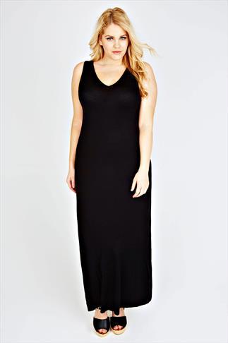 Black Plain V-Neck Sleeveless Jersey Maxi Dress