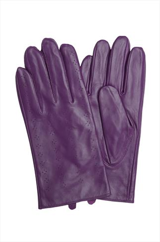 Purple Leather Gloves With Perforated Pattern Detail