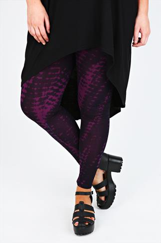 Purple Tie Dye Full Length Viscose Elastane Leggings