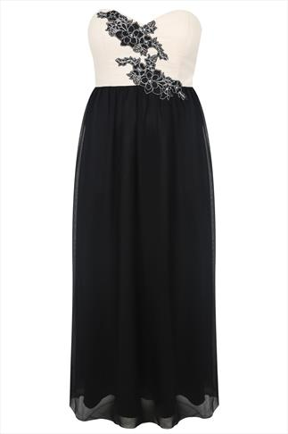 Black And Ivory Chiffon Bustier Maxi Dress With Floral Applique