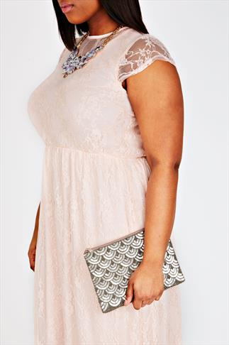 Gold Scalloped Sequin & Beaded Clutch Bag