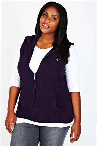 Purple Microfleece Gilet With Zip Front & Silver Crown Embroidery